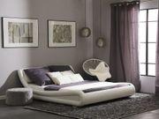 Bett Kunstleder weiß 180 x