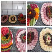 Belegte Platten Obst Gemüse Wurst