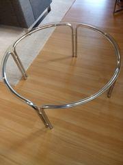 runder Glastisch mit verchromten Füssen