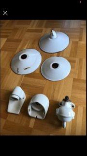 Vintage Lampe alte Hoflampe emailliert