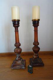 2 Kerzenständer Holz antik