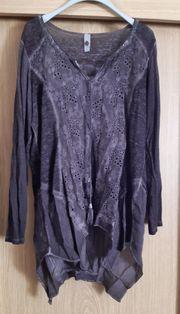 Tredy Langarmshirt Tunika schwarzbraun Größe