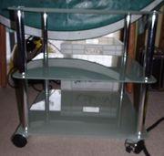 Beistelltisch Glas mit Rollen 45x45