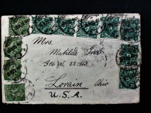 Briefmarken Briefumschlag Deutsches Reich USA
