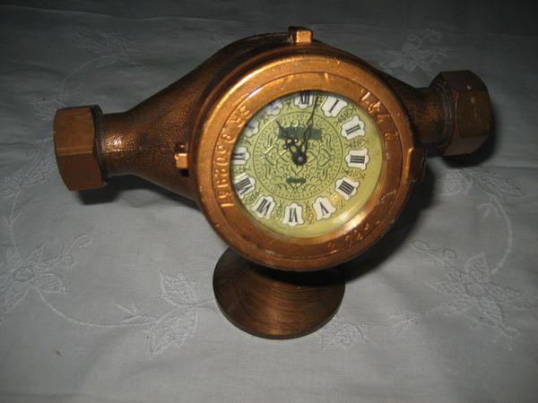 Kaminuhr aus Wasserzähler Wasseruhr Uhr