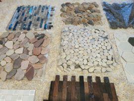 Bild 4 - Verschiedene Mosaikmatten übrig Flußkiesel Keramik - Herzogenaurach