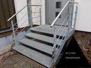 Außentreppe Stahl feuerverzinkt mit Edelstahlhandlauf