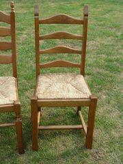 4 Eichenstühle Binsen-Sitzfläche geflochten 3