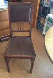 Holzstühle rustikal mit Leder 6x