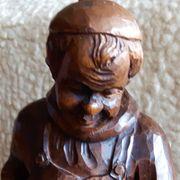 Figur Holzfigur Mönch mit Weinfass