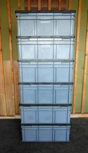 6 stapelbare Kunststoffbehälter 800x600x340mm 134L