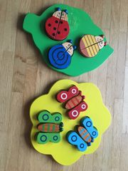 Holzspielzeug Schmetterlinge und Käfer