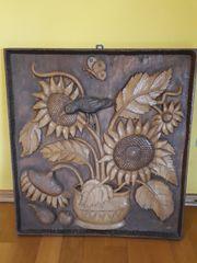 Holzbild geschnitzt 1990 Sonnenblumen Vogel