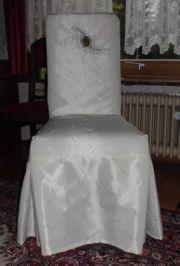 3 Holzstühle mit weißem Überzug