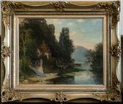 MeisterGemälde GUSTAV THAMM 1859 Gartenhaus