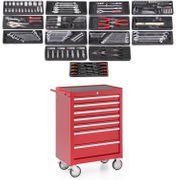 Werkstattwagen rot gefüllt 7 Schubladen