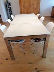 Calligaris Glastisch mit 6 Eames