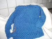 Gestrickter Pullover royal-blau Gr 80