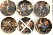 5x Lilien-Porzellan-Wand-Teller