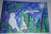Leuchtbild Gemälde Schneeeulenfamilie gemalt auf