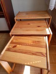 3-er Set Beistelltische aus Holz