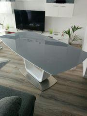 Esstisch Glas Hochglanz weiß grau