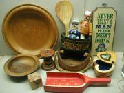 Konvolut Holz Sachen - Teller Schalen