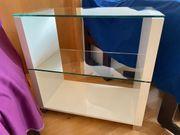 Regal Hochglanz-Weiß mit 2 Glasböden