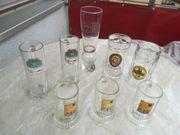 Bierkrüge Glas teils verschiedene Größen