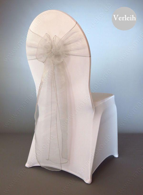 Silber Grau Organza Stuhlschleifen mieten