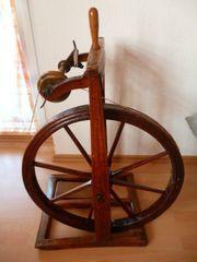 Antikes Spinnrad Deko Holz Massiv