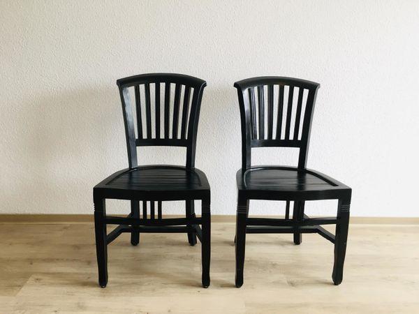 2 Holzstühle Schwarz Massiv Holztuhl