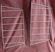2 weiße Metallhalterungen für Stringregal