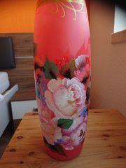 Vase Glas und handbemalt
