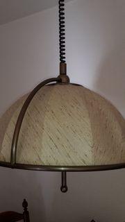 Esstisch-Lampe Altmessing Textil höhenverstellbar