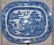 Antike Staffordshire Chinoiserie Blue and