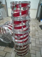 Ludwig Vista-Lite Red-Clear-Spirale Drum Set