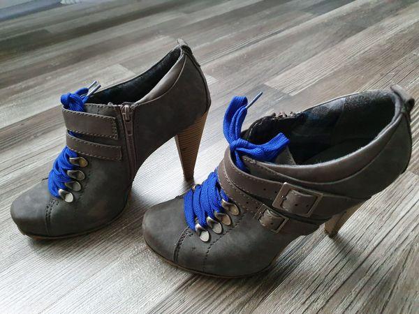 Stiefelette wenig getragen, gut erhalten Grau Blau Gr. 40
