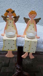 2 süße Engel-Kantenhocker mit Teelichtgläser