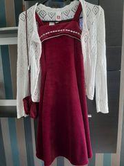 Mädchenkleid Gr 134 140 Weinrot