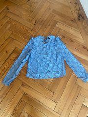 Bluse Hellblau S mit Spitze