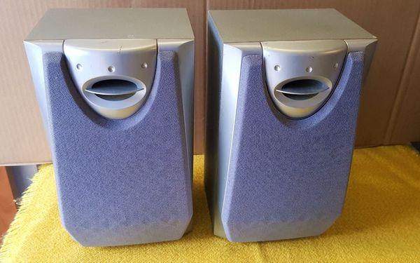 Kompakt Lautsprecher Boxen silber Stoffbespannung