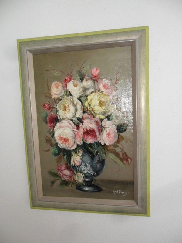 altes Ölgemälde Ölbild Rosen signiert