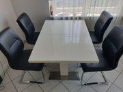 Esszimmertisch weiß hochglanz mit Stühle
