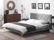 Doppelbett Samtstoff grau Lattenrost 140