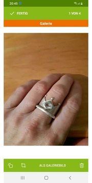 Kronenring Silber mit Bergkristall