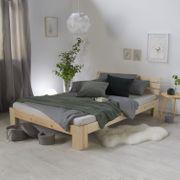Holzbett 140x200 cm Natur Doppelbett