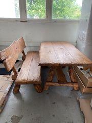 Echtholz Garten Tisch und Bank