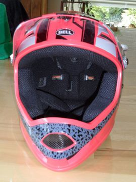 Fahrradzubehör, -teile - Fullface Helm Bell rot grau