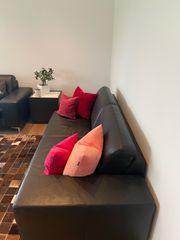 Leder Sofa und Sessel von